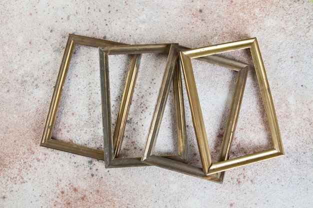 Four empty picture frames