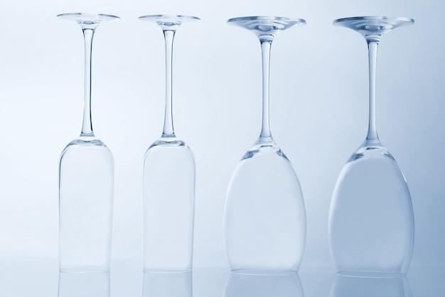 Four empty wine glass