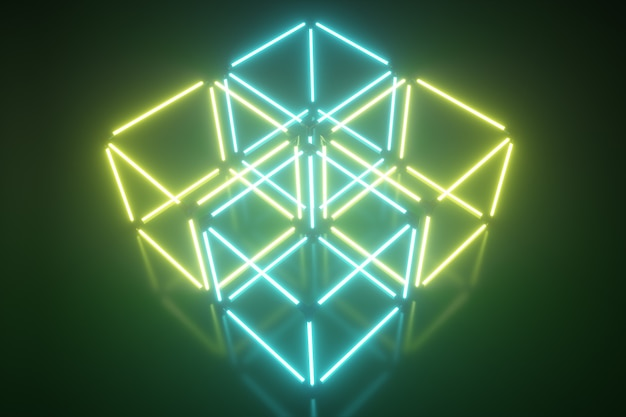 Four glowing neon cube