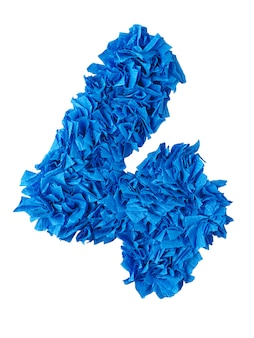 Four, handmade number 4 from blue scraps of paper isolated on white