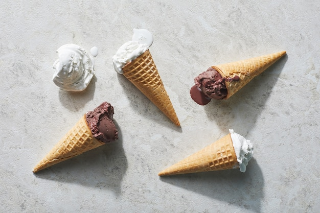 Four ice creams on light table