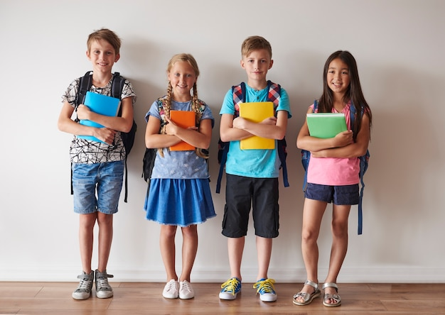 Four of kids prepared to lessons