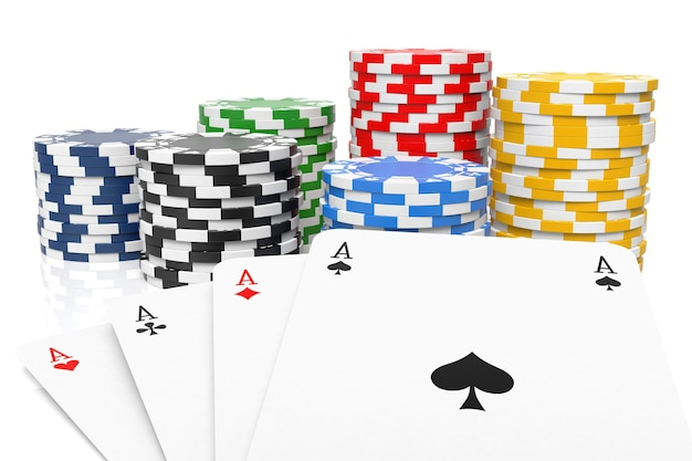 Four of a kind and gambling chips isolated on white 3d rendering