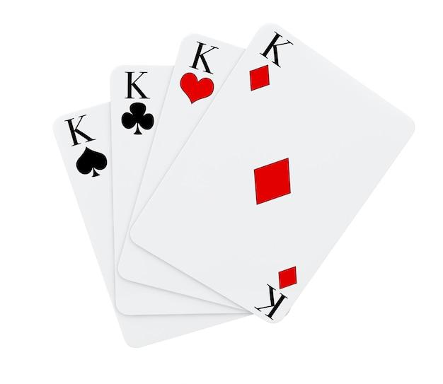 Четыре короля масти игральных карт на белом фоне