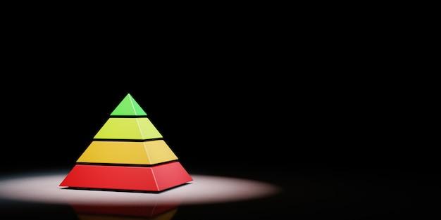 分離されたスポットライトの4つのレベルのピラミッド