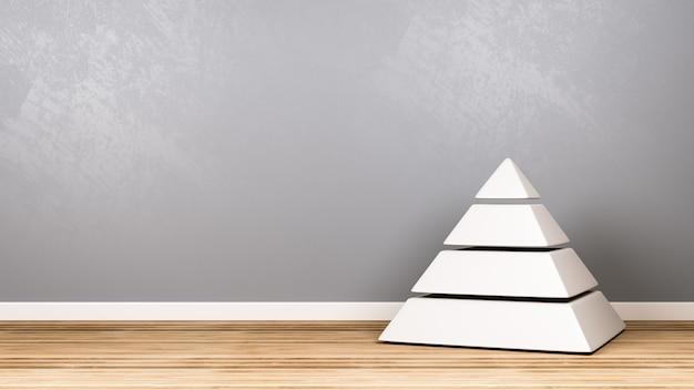 壁に対して木製の床に4つのレベルの白いピラミッド