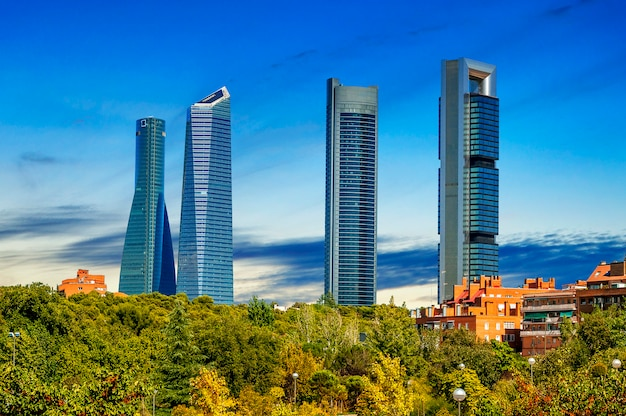 Four modern skyscrapers in madrid, spain