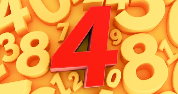 Four red number  on the middle. 3d red number collection - 4
