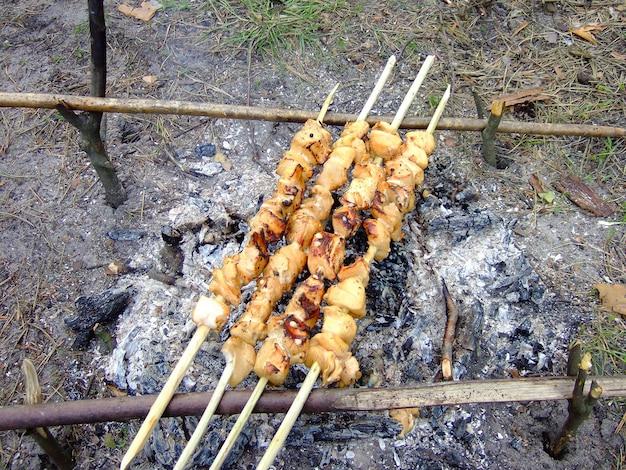 森の中で火で揚げた肉付き串4本