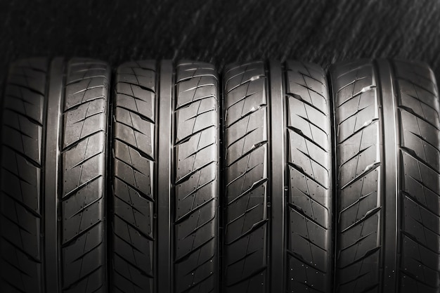 Four tires for sports driving, drifting and auto racing. close up