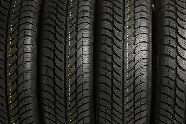 Four tires stack background