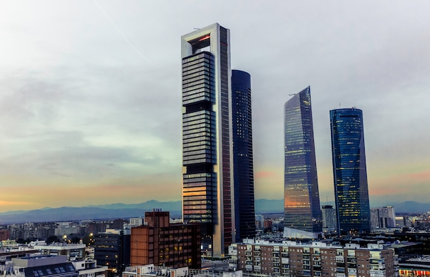 Four towers of the financial zone of madrid