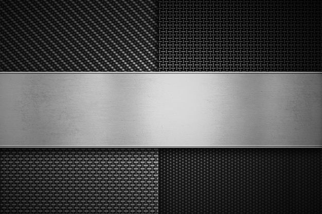 Four types of modern carbon fiber with polish metal plate