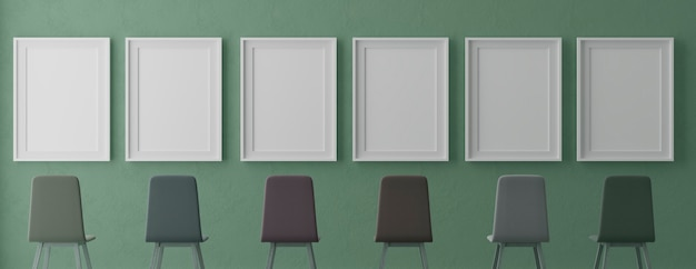 Four vertical white frames and chairs on green wall