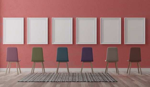 Four vertical white frames and chairs on red wall