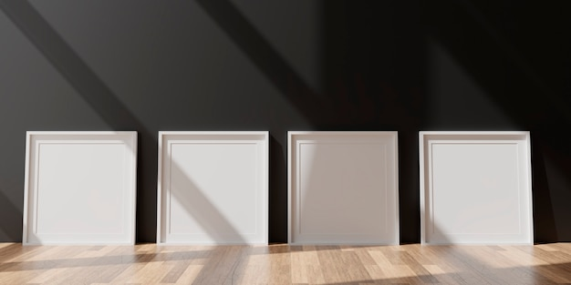 Четыре вертикальные белые рамки на черной стене