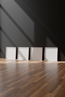 검은 벽에 4 개의 세로 흰색 프레임