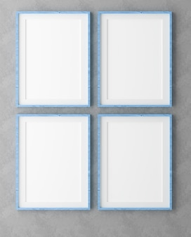 Four vertical wooden frames on grey wall