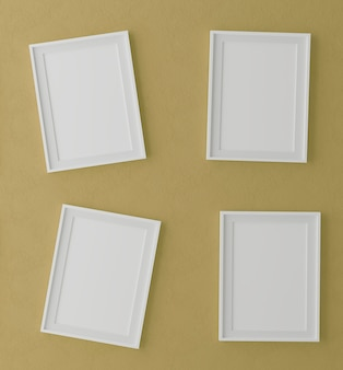 Four vertical wooden frames on yellow wall