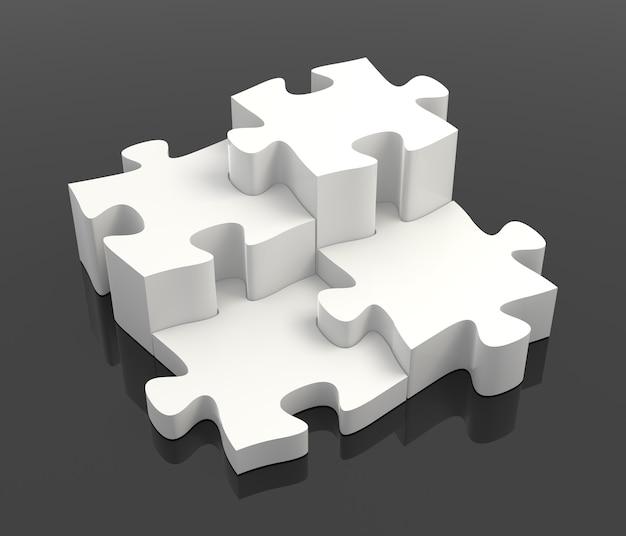 검은 배경에 4개의 흰색 퍼즐 조각 결합 솔루션 개념
