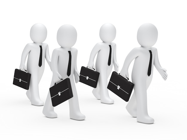 Four workers with briefcases walking