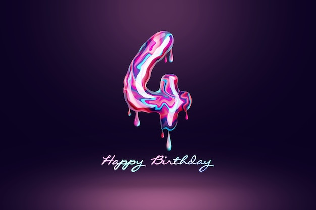 Four year anniversary background, number from pink candy on dark background. concept for happy birthday background, brochure template, party, poster. 3d illustration, 3d rendering.