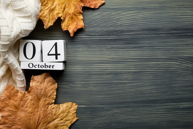 Fourth day of autumn month calendar october with copy space.