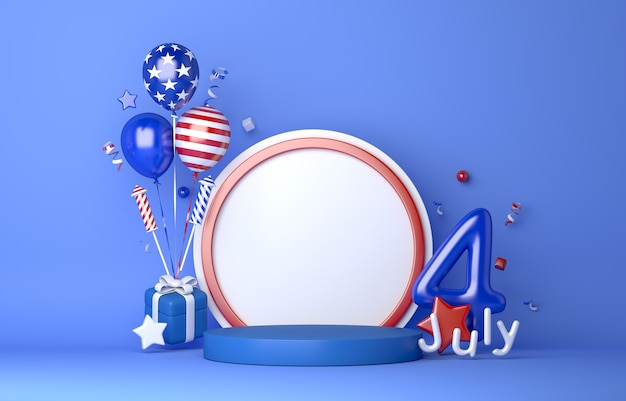 Fourth of july independence day usa display podium with balloon firework confetti ribbon