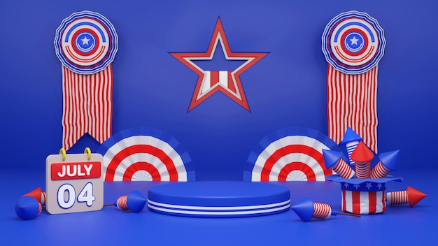 Fourth of july independence day usa display podium with firework confetti ribbon copy space text, 3d rendering illustration.
