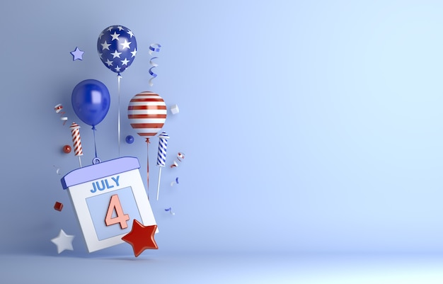 Fourth of july independence day usa with balloon firework confetti ribbon