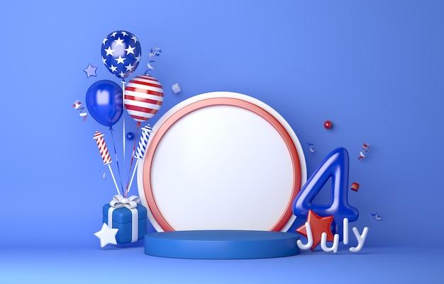 Четвертое июля в день независимости сша демонстрируют подиум с лентой из конфетти и фейерверком