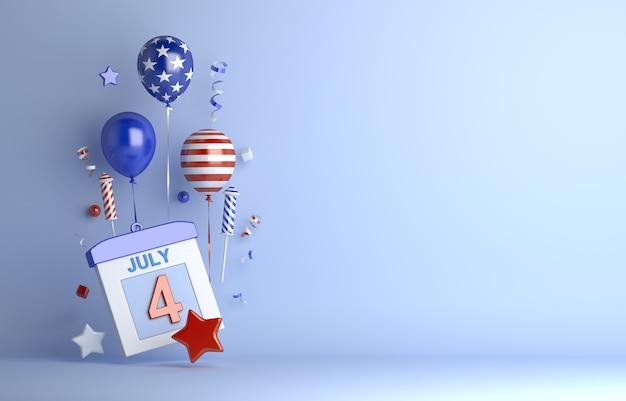 Четвертое июля день независимости сша с лентой конфетти фейерверк воздушный шар