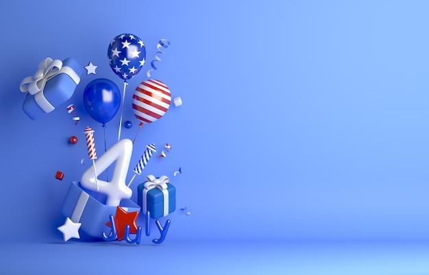Четвертое июля в день независимости сша с фейерверком из подарочной коробки с воздушным шаром