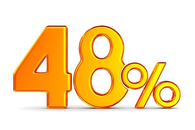 Сорок восемь процентов на пустом пространстве. изолированные 3d иллюстрации