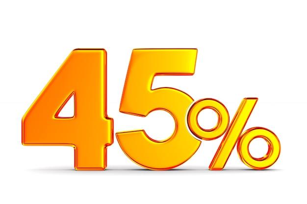 Сорок пять процентов на пустом пространстве. изолированные 3d иллюстрации