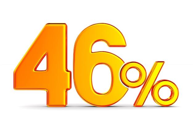 Сорок шесть процентов на пустом пространстве. изолированные 3d иллюстрации