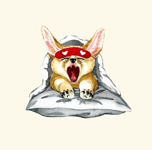 Иллюстрация лисы. ручной обращается акварель. детский принт