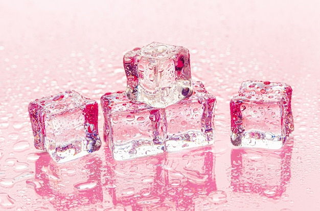 Fozen ice cubes on wet pink background