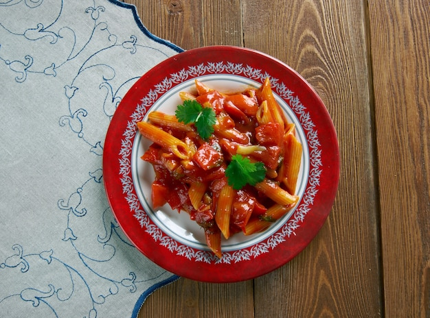 Fra diavolo sauce and penne pasta. tomato-based and use chili peppers for spice.italian-american cuisine
