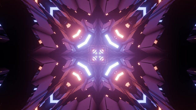 Fractal 3d illustration of abstract symmetric pattern with bright neon illumination and purple lights in darkness