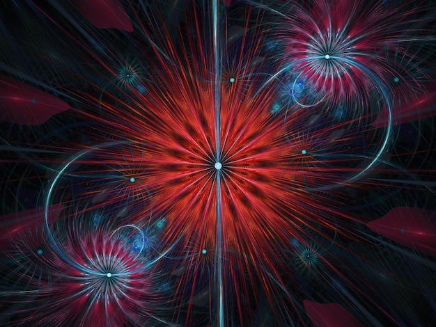 Фрактальные цветные абстрактные круглые кривые и линии на черном фоне