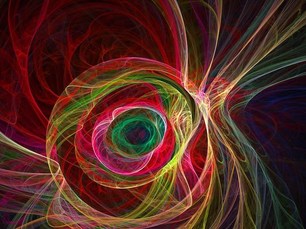 프랙탈 색깔의 추상 둥근 곡선과 검은 배경에 선