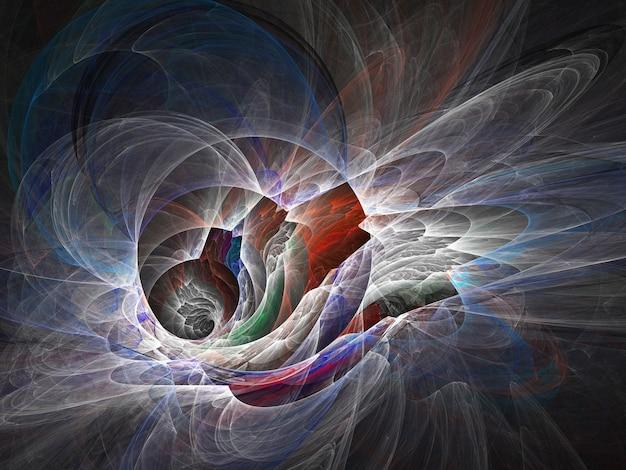 黒の背景にフラクタル色の抽象的な丸い曲線と線