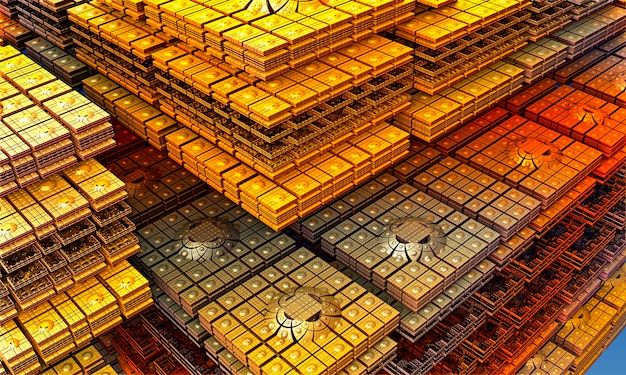 Fractal of many square plates of gold. computer-generated 3d fractal. fractal illustration of the architecture. oriental architecture. 3d rendering.