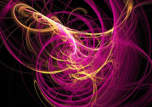 黒の背景にフラクタル黄色とピンクの抽象的な曲線と線