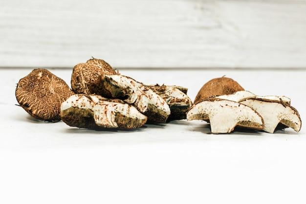 Расколотый маховик грибов xerocomus с червями внутри.
