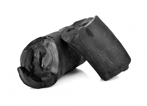 Fractured wood coal isolated over white background