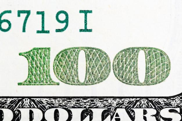 Fragment of 100 banknotes in macro. hi res photo.