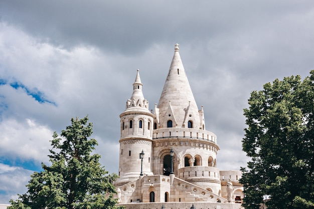 Fragment of fisherman's bastion in budapest, hungary