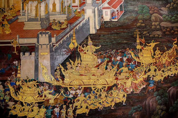 Fragment of a fresco with scene from the ramakien at wat phra kaew